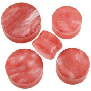 1-Pr-GIANT-9-16-034-Red-Coral-Glass-Saddle-Plugs-Ear-14mm