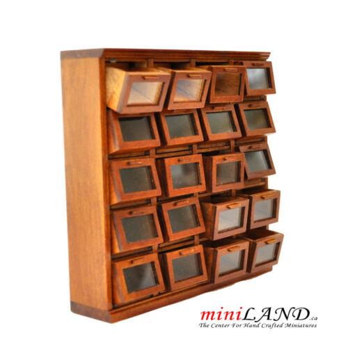 General store grain bin cabinet 20 Tilt Out drawers Walnut 1:12 dollhouse mini