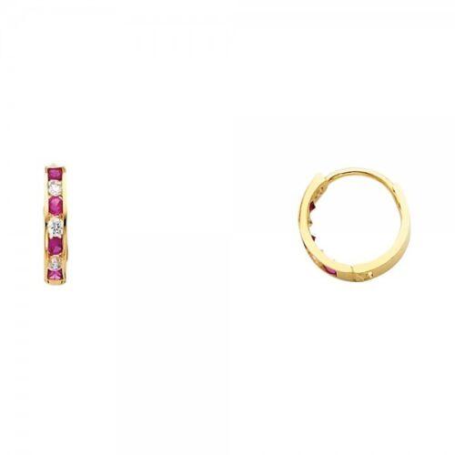 14K or Jaune Round Red Ruby Diamond Huggies Boucles d/'oreilles femme bébé