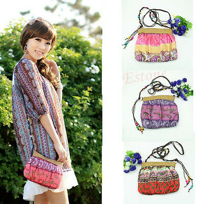 Bohemian exotic flowers woven straw beach bag Messenger bag Shengbu