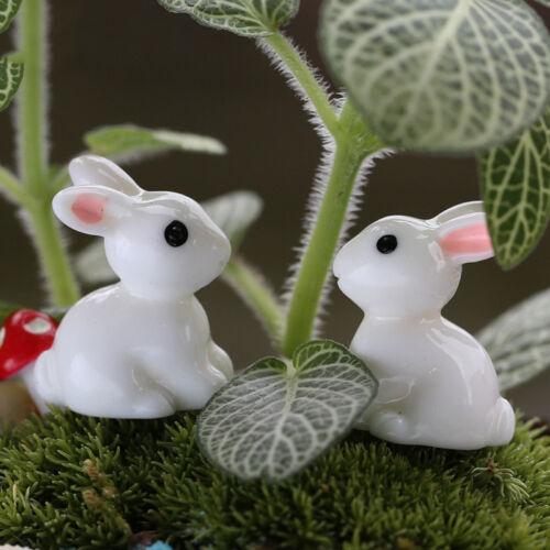 4x  Rabbit Miniature Ornament Home Decor Fairy Garden-Figurine Bonsai Statue New