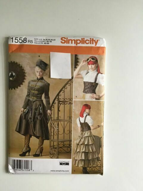 Size 14-22 Corset Sewing Pattern Skirt Top Steampunk Jacket Simplicity 1558