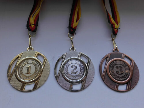 Zahlen 1. 2. 3. Pokal Medaillen 3er Set 50mm mit Band&Emblem Turnier Zahl (e257)