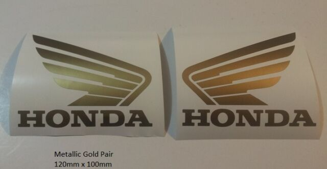Metallic gold honda wing pair tank vinyl cut stickers decals 120mm x 100mm
