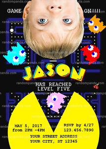 Personalize Pacman Invitation Arcade Party Pac Man Birthday Invite