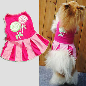 Fashion Cat Dog Apparel Pet Dog Costume Stripe T-shirt Skirt Puppy Dress XS-XL