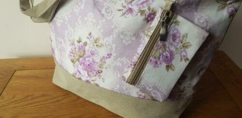 FLORAL BEACH BAG TOTE WITH PURSE VINTAGE Italian Styled Hessian Handles /& Trim