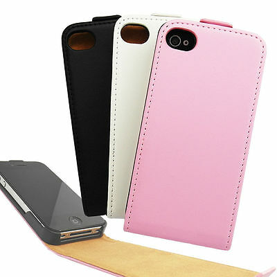 PU Leather Protective Vertical Flip Case Cover For iPhone 4 4S Pink Black White