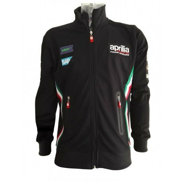 Offiziell Gresini Aprilia Team Schwarz Reißverschluss Sweatshirt - 17do