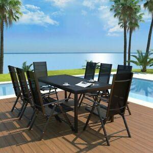 vidaXL-9-Piece-Outdoor-Dining-Set-Aluminum-Black-Garden-Patio-Table-Chairs