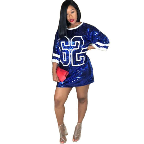 CY8129  Woman Sequin numbers Loose T-shirt short Sleeve Hiphop DS Top Dress 2XL