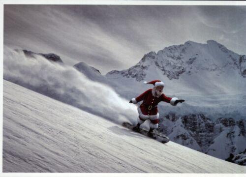 Weihnachtsmann mit Snowboard im Hochgebirge Ansichtskarte