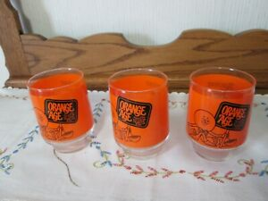 Vintage Barware Ancient Age Distillery Bourbon Orange Age Low Ball Rocks Glasses