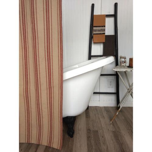 New Primitive Rustic Farmhouse Chic BARN RED STRIPE Grain Sack Shower Curtain