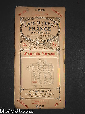 Early French Michelin Map of Mont de Marsan c1922 (Feuille/Carte de la France)