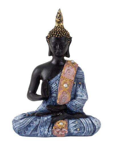 Moderne Sculpture Dekofigur Bouddha de Art Pierre Noir//Bleu 15x11 cm