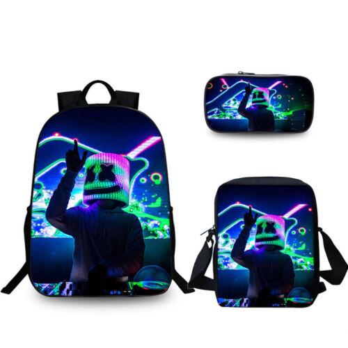 3PCS Marshmello DJ Backpack School Bag Pencil Case Crossbody Bag Rucksack NEW^-^