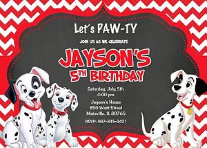 101 Dalmatians Dalmatian Puppy Dog Birthday Party Invitation eBay