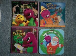 Lot of 4 Vintage 1990s BARNEY Baby Bop BJ BOOKS Christmas Halloween School & Zoo