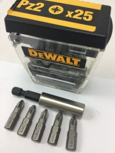 5 X PZ2 DEWALT 25mm BITS   1 X 60mm MAGNETIC BIT HOLDER PROFFESIONAL