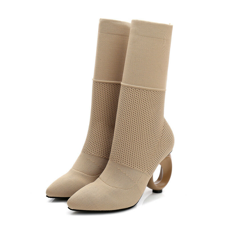 Women's Sock Ankle Boots Unique Round Heels Beige Fall Winter 2018 8 Free Ship