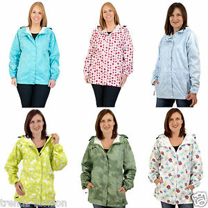 WOMENS RAINCOAT LADIES LIGHTWEIGHT HOODED WATERPROOF MAC WINDPROOF ...