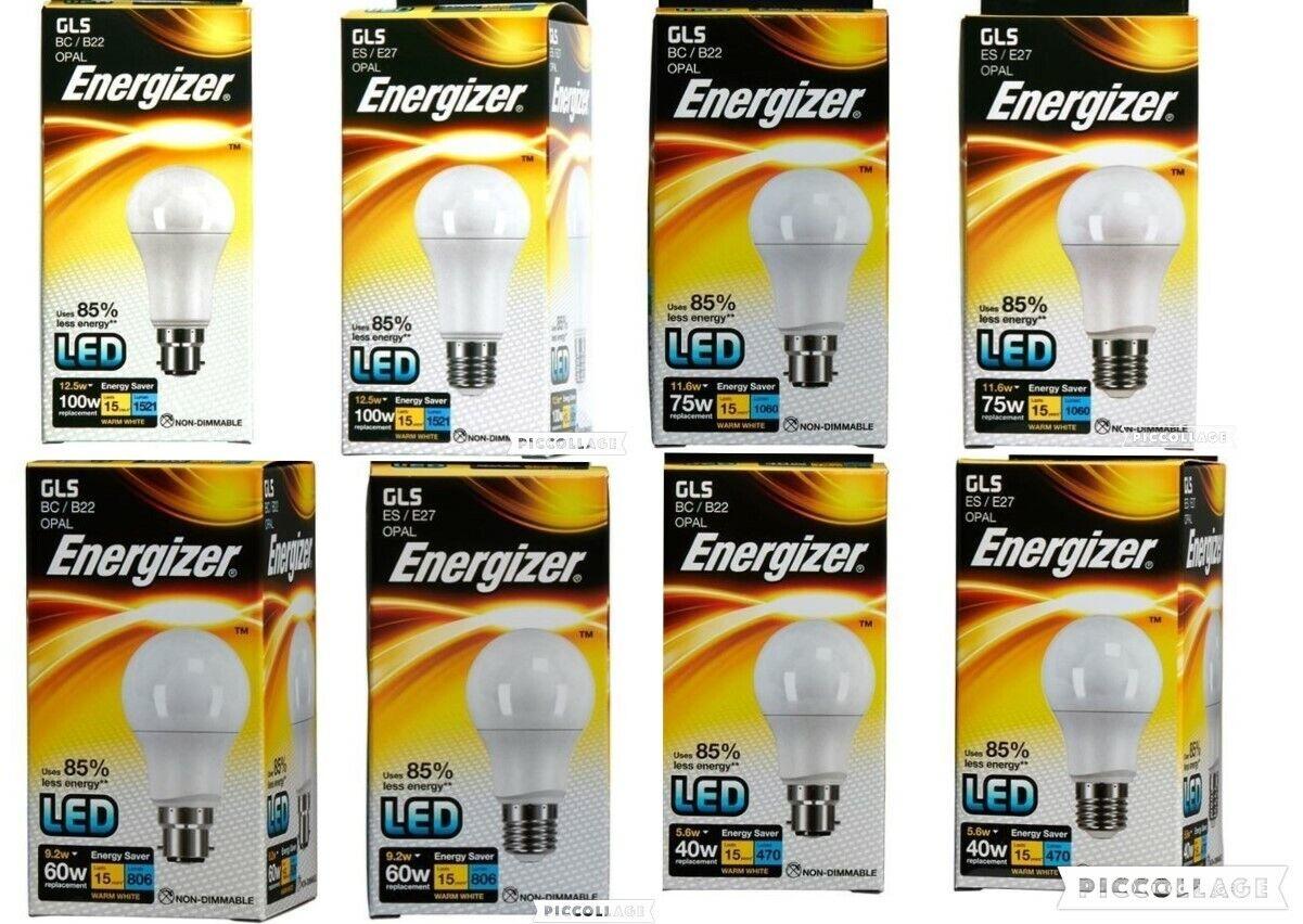 4x Energizer B22 Bayonet Candle LED Light Bulb 470lm Clear 5.9W=40W Warm White