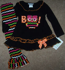 NWT Bonnie Jean Black HALLOWEEN OWL Chevron Dress Top/Pants Lot 3/3T Orange/Pink
