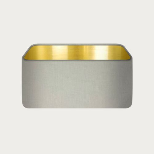 Rounded Rectangle 100% Ecru Linen with Brushed Gold Metallic Lining