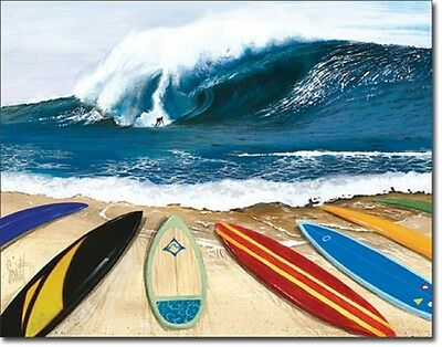 Surf Boards on Beach wall art Wait Your Turn TIN SIGN metal poster print 1781
