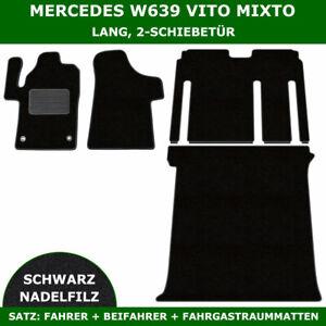 Passend für Mercedes W639 Vito Mixto Lang 2-Schiebetür - Satz Nadelfilz, Schwarz