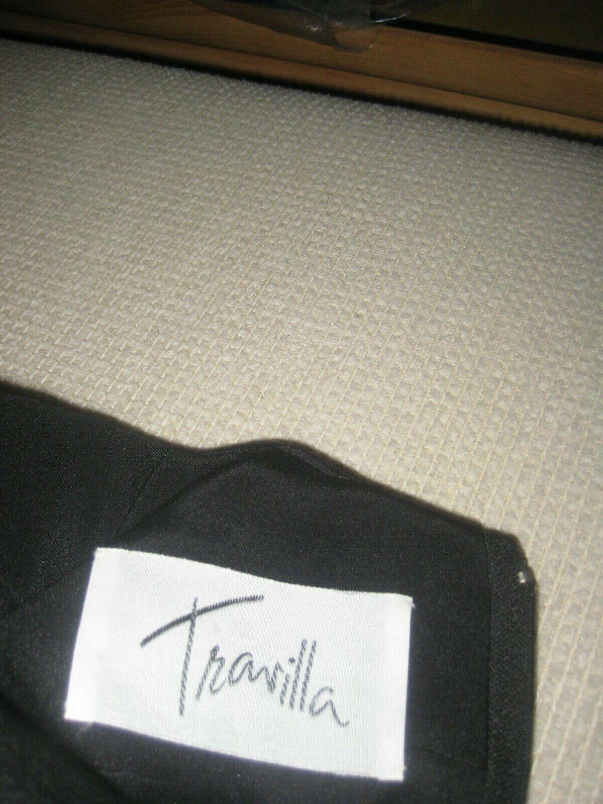 Vintage 1980's Travilla black drop waist LS lined… - image 12