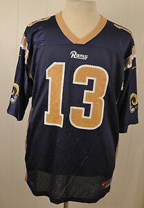 low cost 456c5 9672b Details about Nike St. Louis Rams Jersey #13 Kurt Warner NFL Football Large  Blue Los Angeles