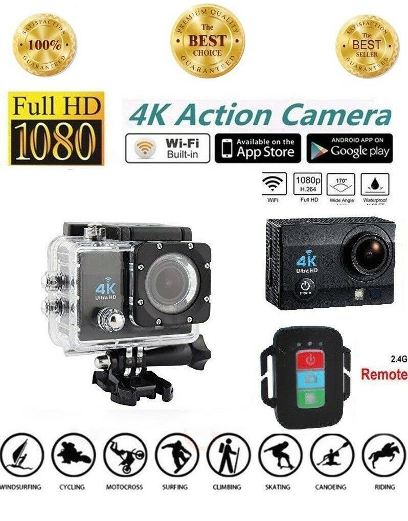 Action Camera 4K WiFi Underwater Waterproof Cam 12MP Sports Camera with Remote Featured
