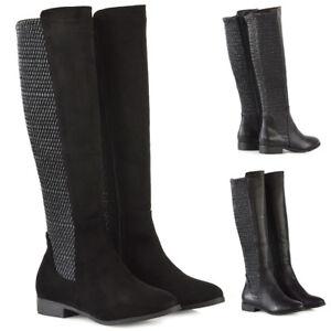fd4b3f64718 Womens Knee High Boots Flat Low Heel Ladies Stretch Calf Zip Winter ...