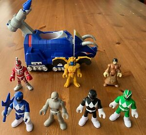 Imaginext-Power-Rangers-Figure-Lot-MMPR-Fisher-Price-Blue-Triceratops-Zord-Putty
