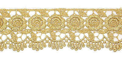 "2.1/4""(57mm) Rose Floral Metallic Gold Venise Lace Trim x 1yd"