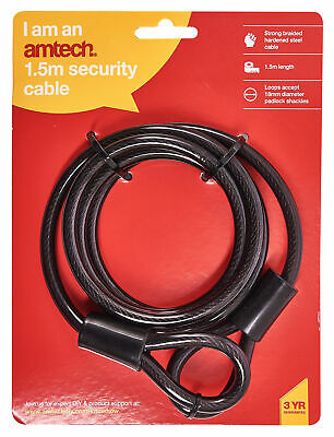 Heavy Duty Cable Lock 1.5M Strong Security Pvc Sleeve Motorbike Bicycle Amtech
