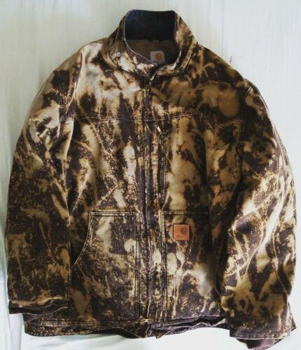 Custom Men's Brown Carhartt Coat Jacket - Bleached