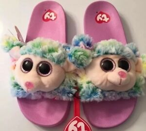 3e435102bd2 Youth Girls Ty Beanie Boo Flip Flop Slide Slippers Rainbow Poodle ...