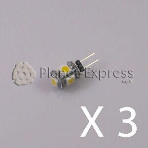 3-x-Bombilla-G4-5-Led-SMD-Blanco-Calido-80-Lumen-12V-DC-caravana-barco-coche
