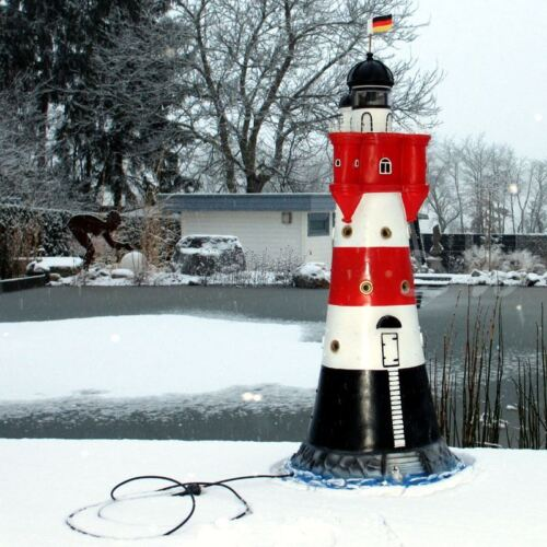 LEUCHTTURM ROTER SAND 120 cm mit DOPPEL LICHT rot weiß Garten Deko Figur Meer
