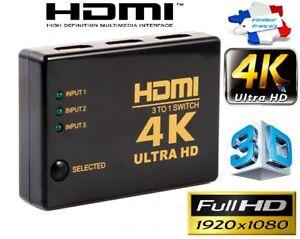 Livraison Rapide 4k Commutateur Hdmi Hub 1080p Switch Splitter 3d 3 Ports Full Hd Répartiteur