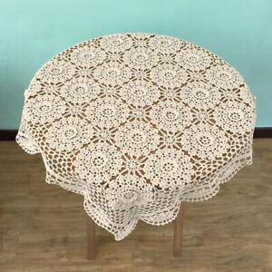 Beige-Square-Lace-Cotton-Table-Cover-Doily-Hand-Crochet-TableCloth-23-6inch