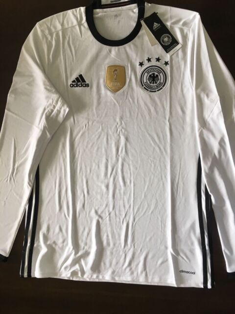 bbe9d1728e0 Aa0147 adidas Germany Home White Long Sleeve Soccer Jersey Men's Size M
