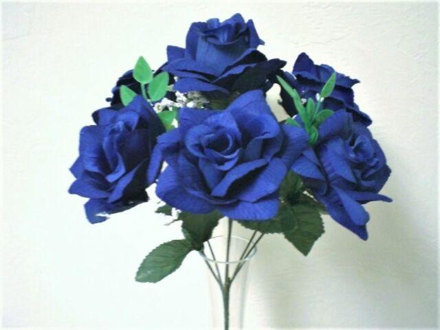 "2 Bushes DARK BLUE Open Roses 7 Artificial Silk Flowers 15"" Bouquet 039RBL"