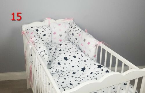 PILLOW BUMPER made from 6 cushions stars blue grey pink nursery for cot//cot bed