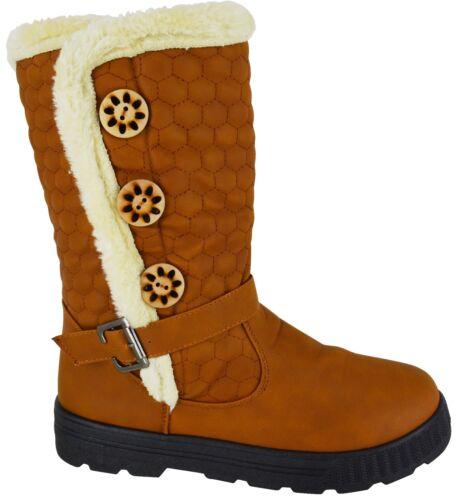 LADIES WINTER WOMENS GRIP SOLE MID CALF FAUX SHEEPSKIN FUR WARM SNOW BOOTS SHOES