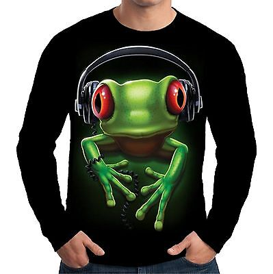 Velocitee Ladies Long Sleeve T-Shirt  Frog Rock DJ Festival Music Fashion A18618