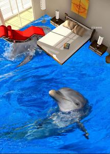 3D Papel de Parojo de suelo realizar delfines 914 Murales Parojo impresión AJ Wallpaper Reino Unido Limón
